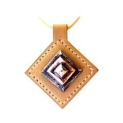 Vintage HERMES Necklace - Touareg Design - Sterling Silver and Beige Taupe