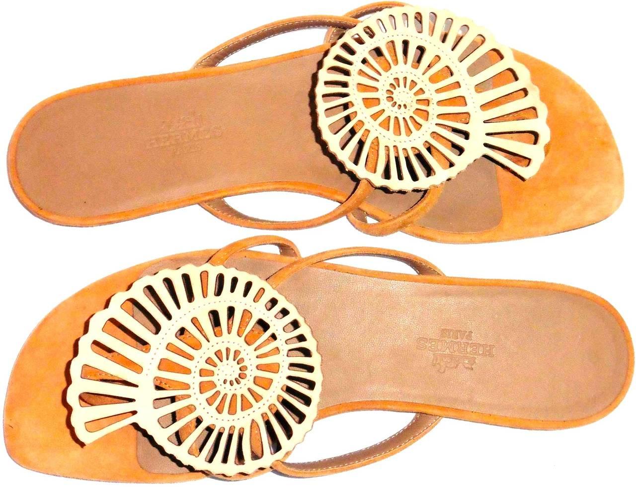 New HERMES  Sandals/Shoes - Beige Tan - Size 37  Nautilus 2