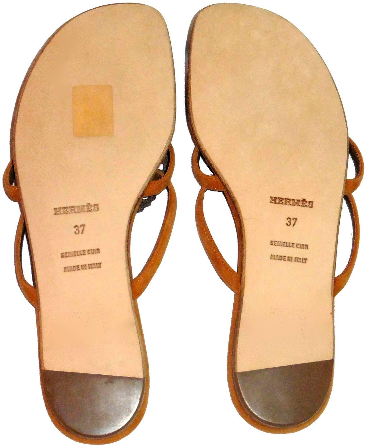 New HERMES  Sandals/Shoes - Beige Tan - Size 37  Nautilus 5