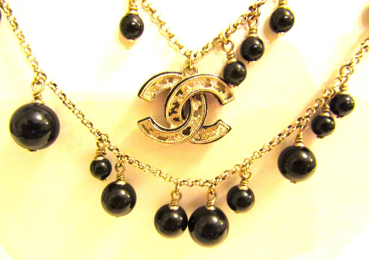 Chanel Necklace - Double Strand Alternating Black Beads - CC Logo 2