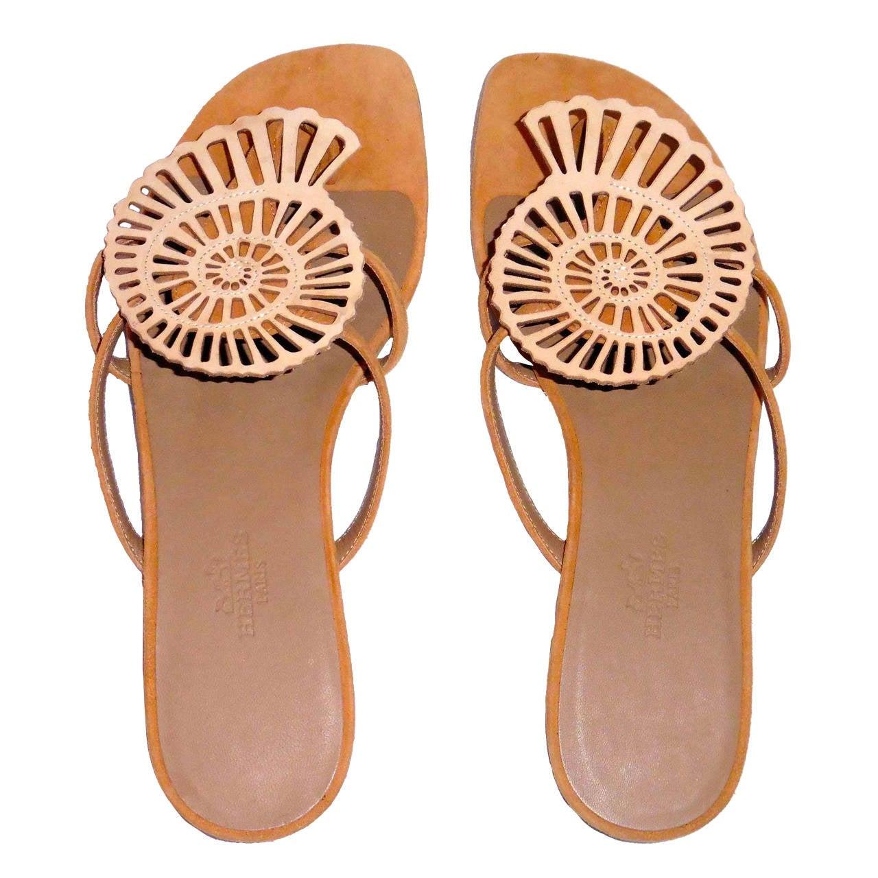 New HERMES  Sandals/Shoes - Beige Tan - Size 37  Nautilus 1