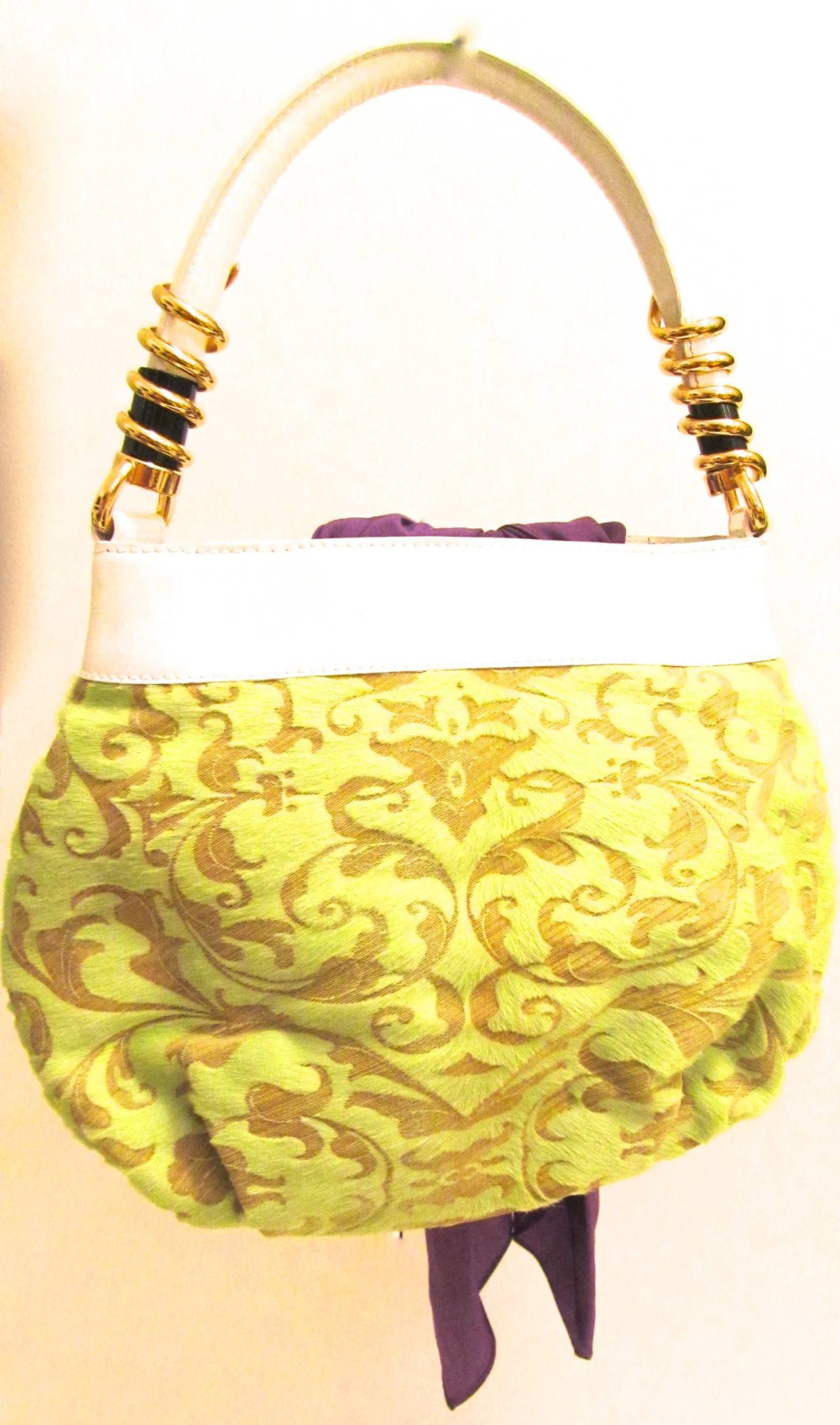 Yellow De Grisogono Geneve Couture Hand Bag - Green, White, and Purple For Sale