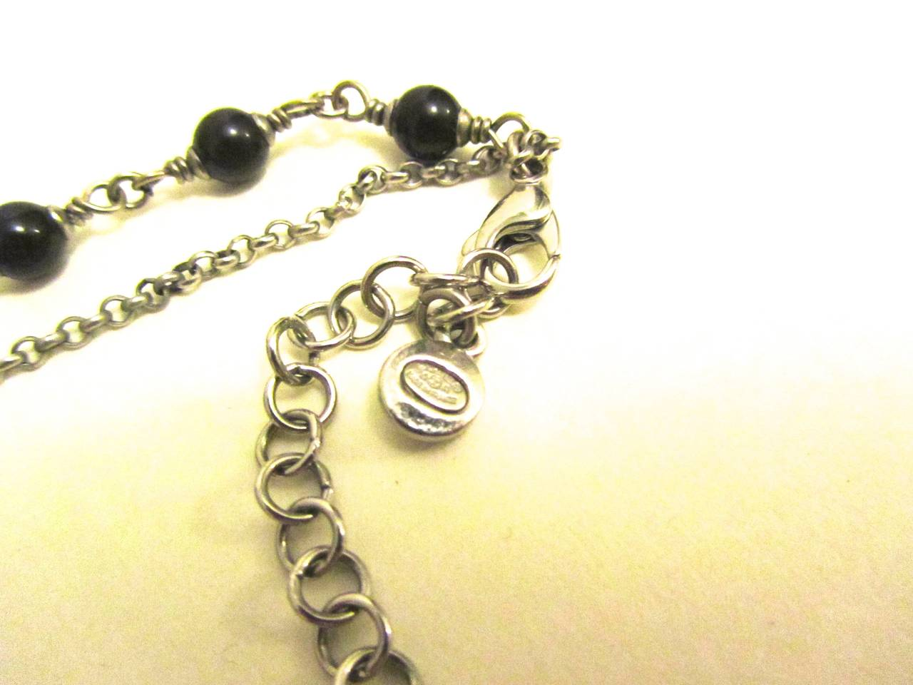 Chanel Necklace - Double Strand Alternating Black Beads - CC Logo 4