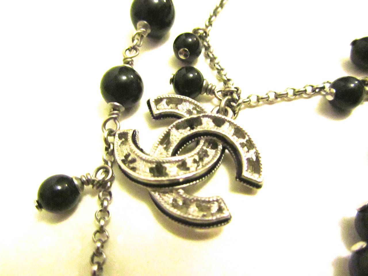 Chanel Necklace - Double Strand Alternating Black Beads - CC Logo 3
