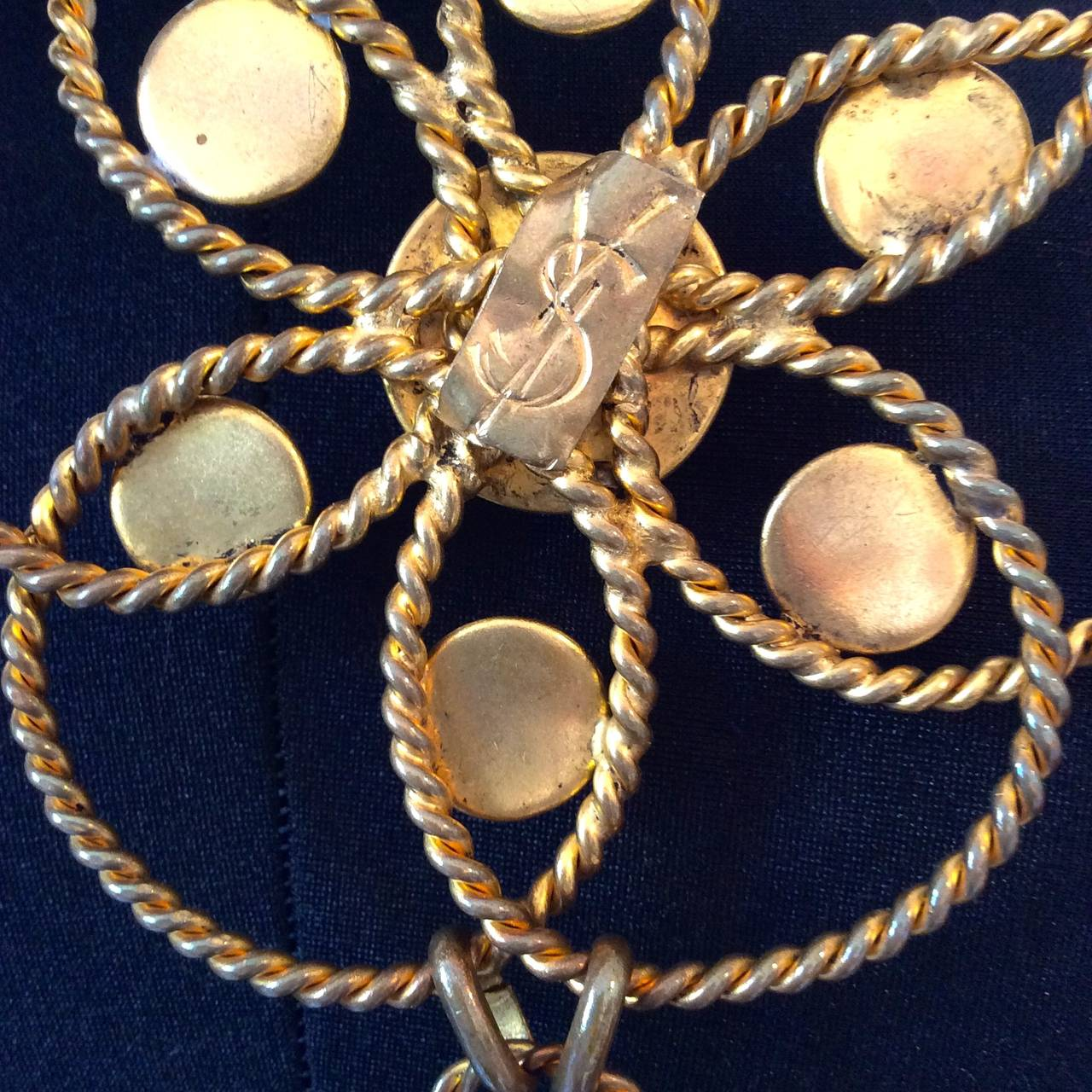 Rare 1970's YSL / Yves Saint Laurent Gold Tone Chain Belt with Cabachon stones 5