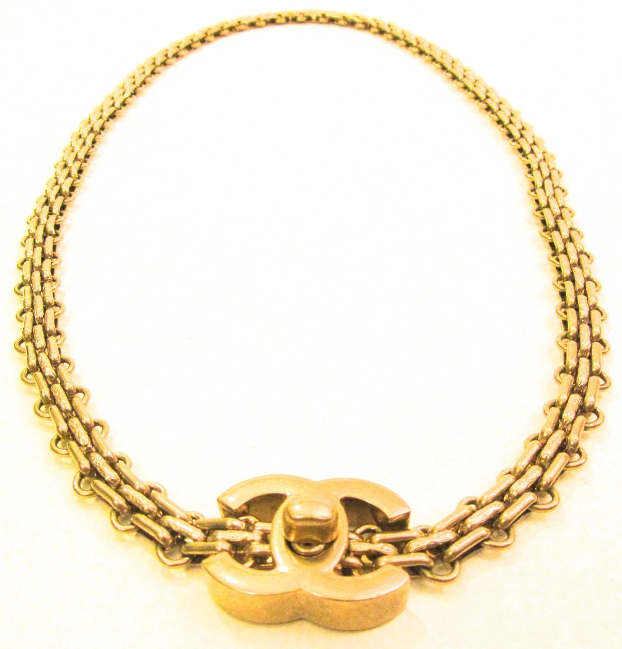 chanel necklace. chanel necklace - gold tone chain 2.55 reissue design cc logo 2