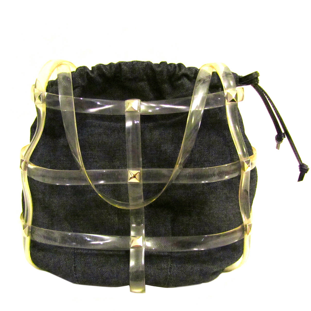1980s Paco Rabanne Denim and Clear Plastic Handbag - Drawstring Pouch