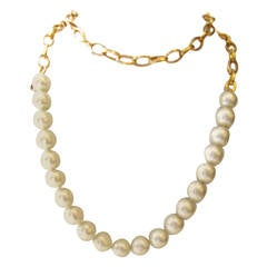 Vintage 1980's Chanel Necklace - Pearls with Gold Tone Oval Links