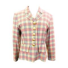 Yves Saint Laurent Jacket/ YSL Blazer - Multi Colored Houndstooth