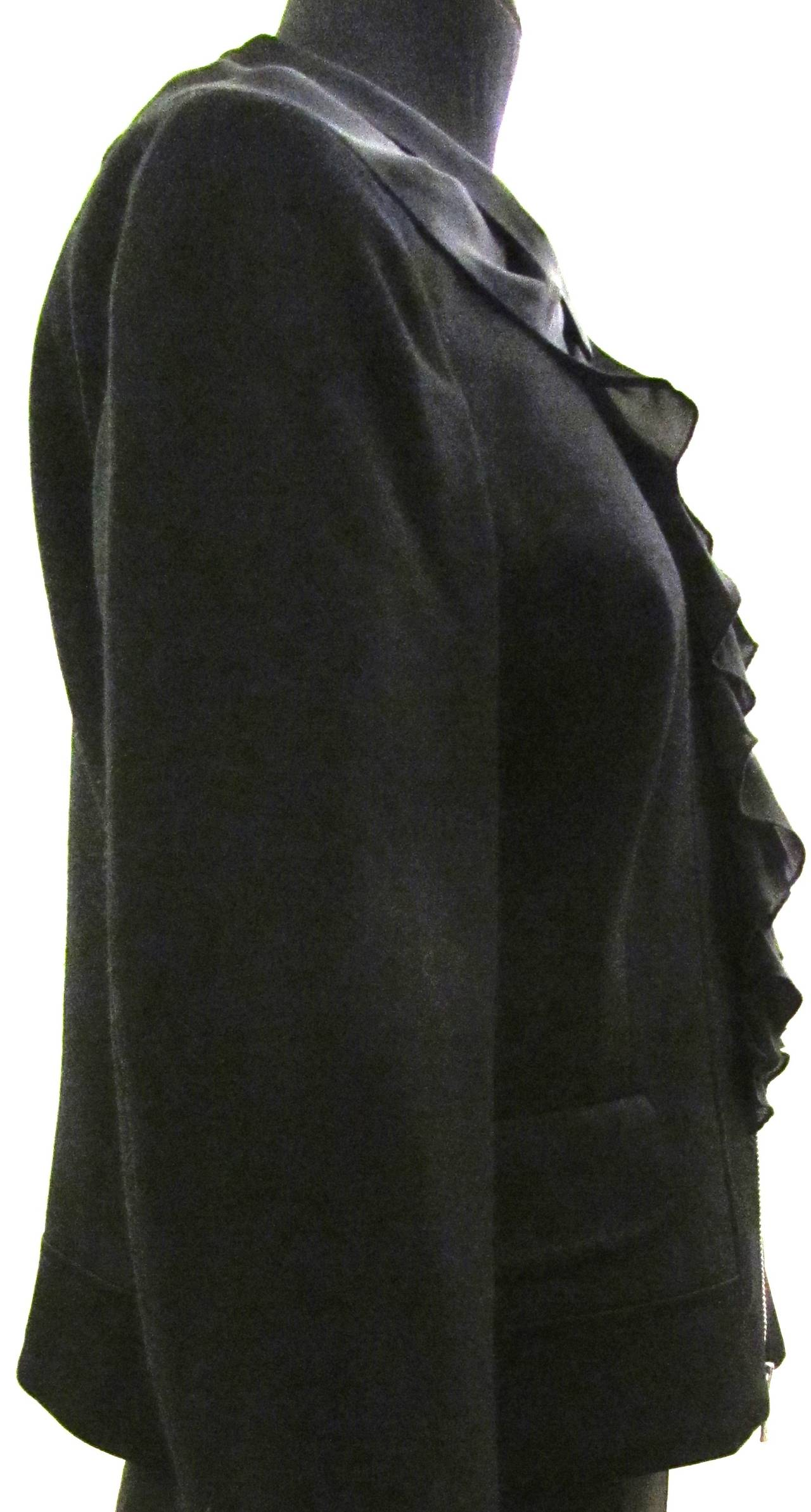 "Moschino ""Cheap and Chic"" Jacket - Black Wool with Silk Crepe Trim 3"