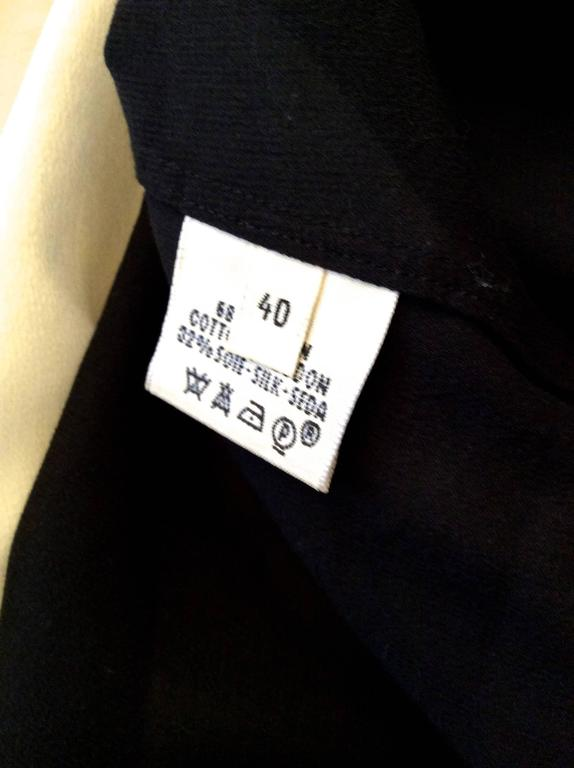 Hermes Silk Blouse - Cream and Navy Classic For Sale 2