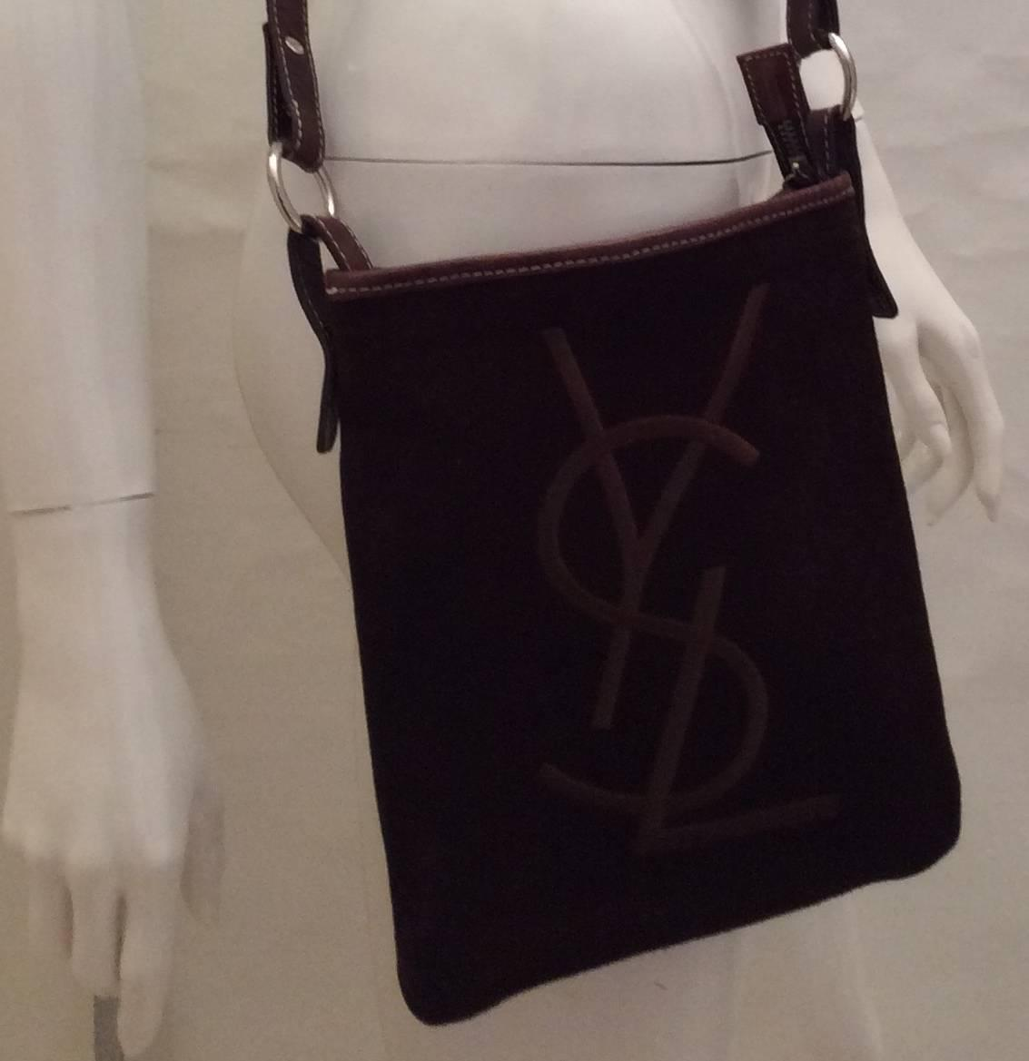 yves st laurent mens wallet - Yves Saint Laurent (YSL) Brown Suede Crossbody Bag For Sale at 1stdibs