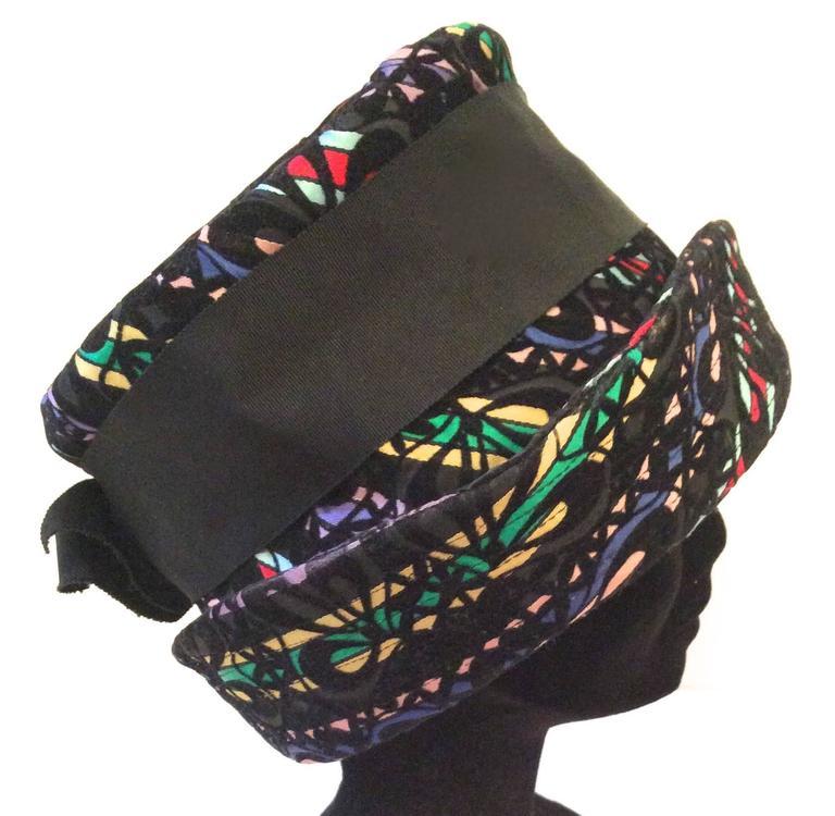 Black Mod Multi-colored Hat - Late 1950's  For Sale