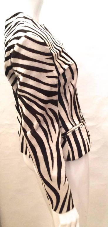 Beige Ralph Lauren Purple Label Zebra Pattern Fur Coat - New For Sale
