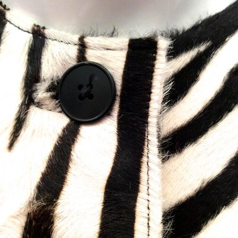 Ralph Lauren Purple Label Zebra Pattern Fur Coat - New For Sale 1