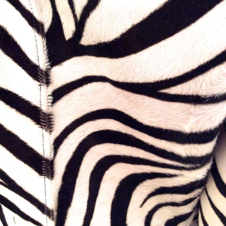Ralph Lauren Purple Label Zebra Pattern Fur Coat - New For Sale 2