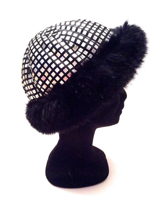 Women's 1960's Mod Silver and Black Geometric Hat For Sale