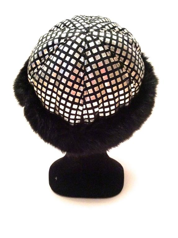 1960's Mod Silver and Black Geometric Hat For Sale 1