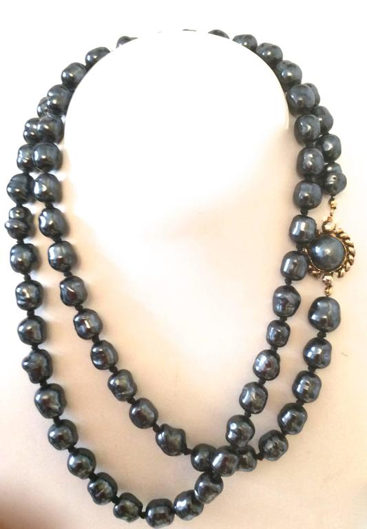 Chanel Dark Gray Pearl Necklace 5