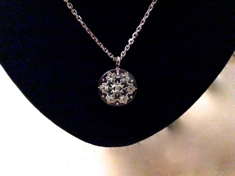 Chanel Lucite Snowflake Necklace For Sale 1