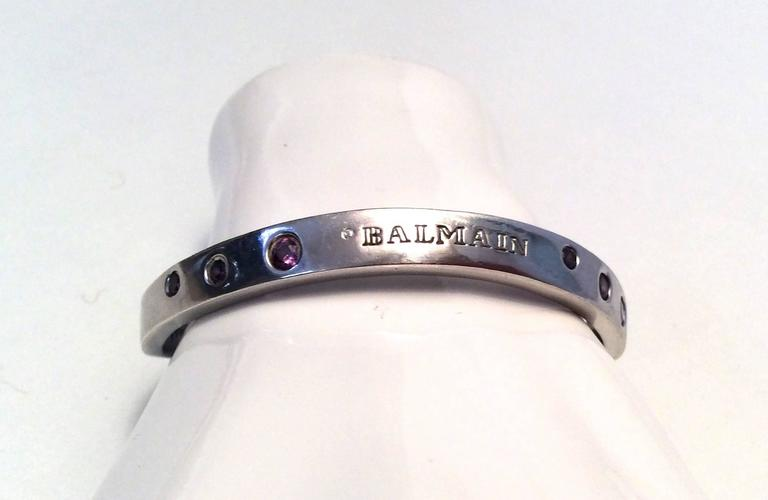 Balmain Sterling Silver and Amethyst Bracelet  7