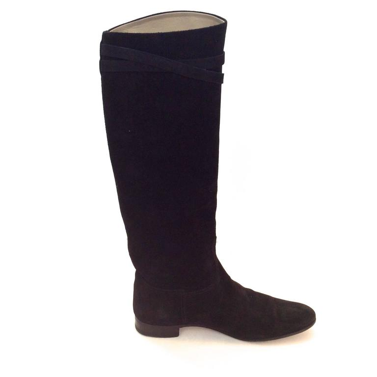 Hermes Black Suede Riding Boots - Size 37.5 2