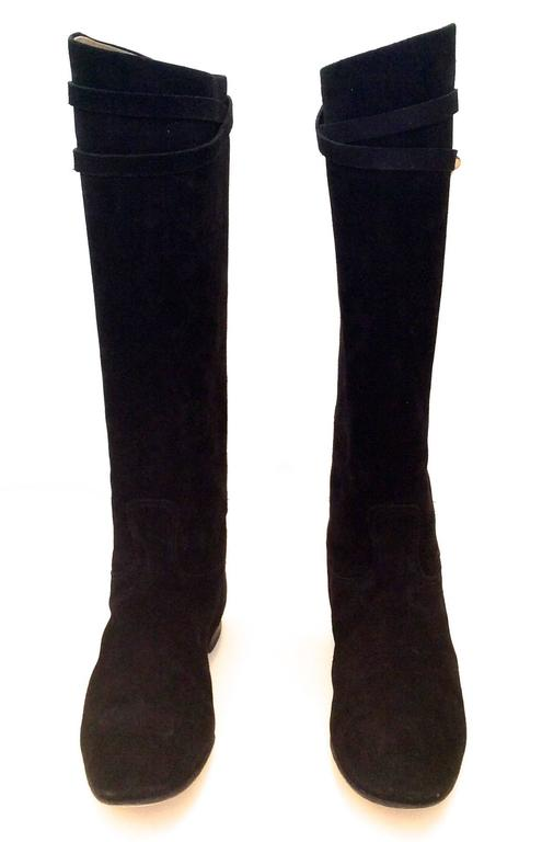Hermes Black Suede Riding Boots - Size 37.5 3