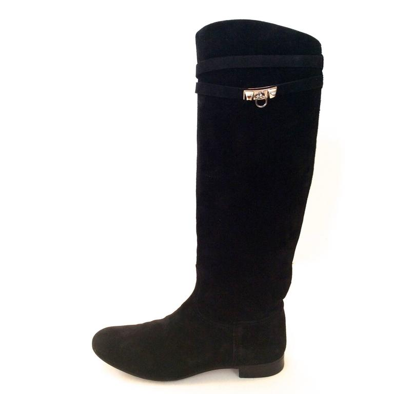 Hermes Black Suede Riding Boots - Size 37.5 4