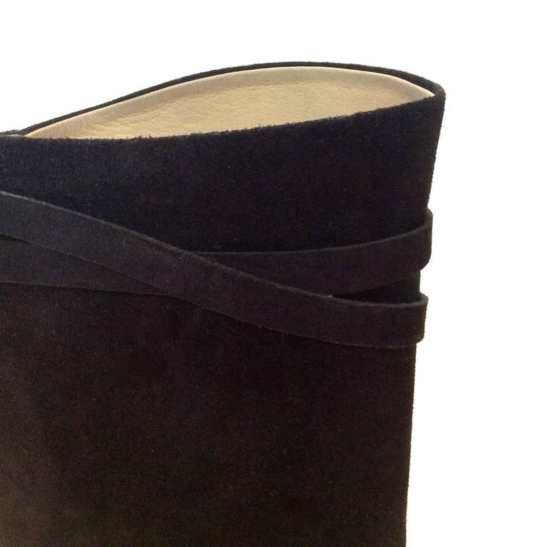Hermes Black Suede Riding Boots - Size 37.5 6