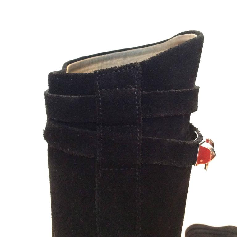 Hermes Black Suede Riding Boots - Size 37.5 7