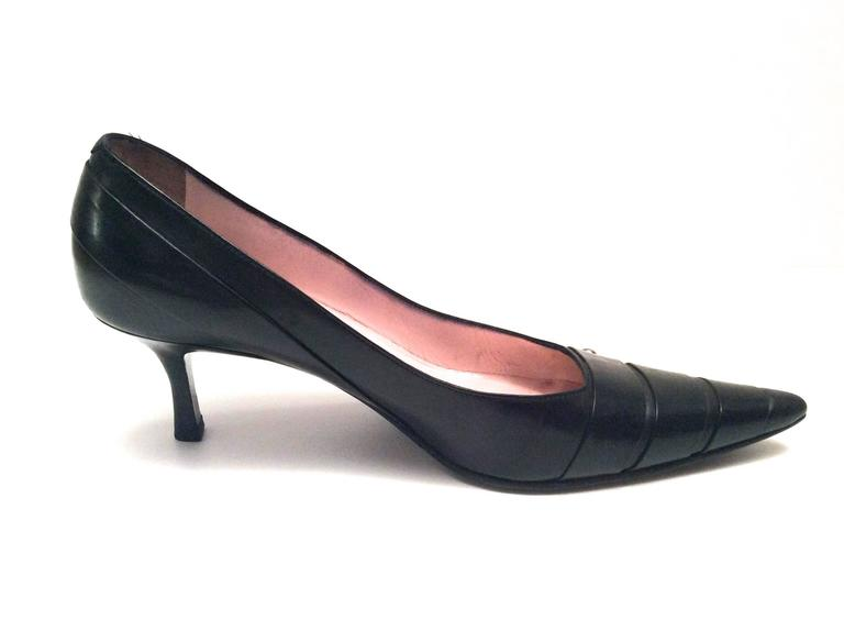 Chanel Black Leather Pumps - Size 38 2
