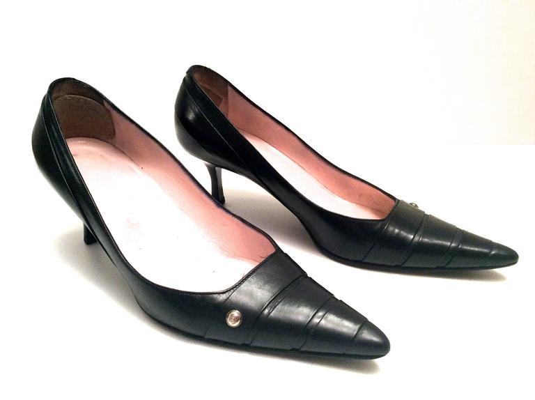 Chanel Black Leather Pumps - Size 38 3