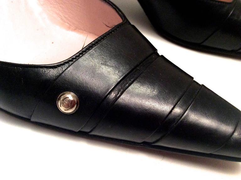Chanel Black Leather Pumps - Size 38 10