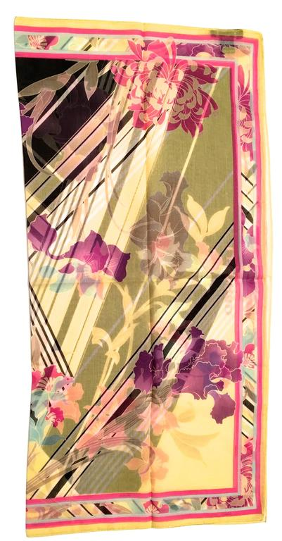White New Leonard Magnificent Floral Scarf For Sale