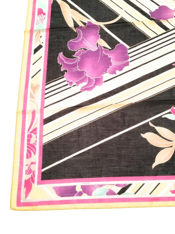 New Leonard Magnificent Floral Scarf In New Never_worn Condition For Sale In Boca Raton, FL