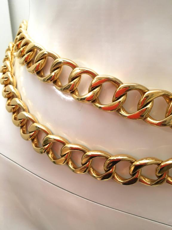 Chanel Gold Tone Metal Chain Belt  7