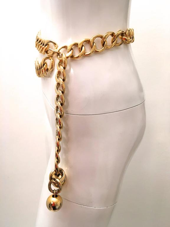 Chanel Gold Tone Metal Chain Belt  8