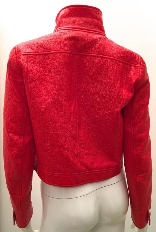 Red patent leather jacket