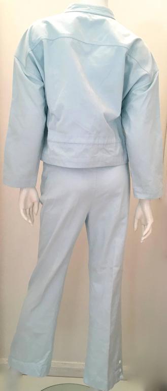 Courreges 2 Piece Light  Blue Cotton Pant Suit - 1980's 3