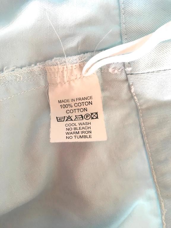 Courreges 2 Piece Light  Blue Cotton Pant Suit - 1980's 5