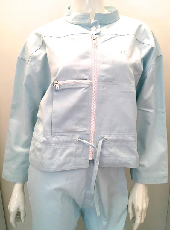 Courreges 2 Piece Light  Blue Cotton Pant Suit - 1980's 6