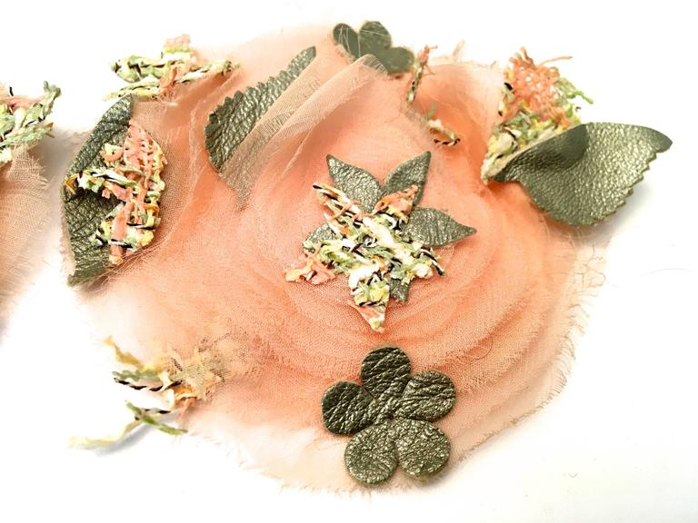 2 Matching Chanel Camellia Pins - Pink, Gray, Green For Sale 2