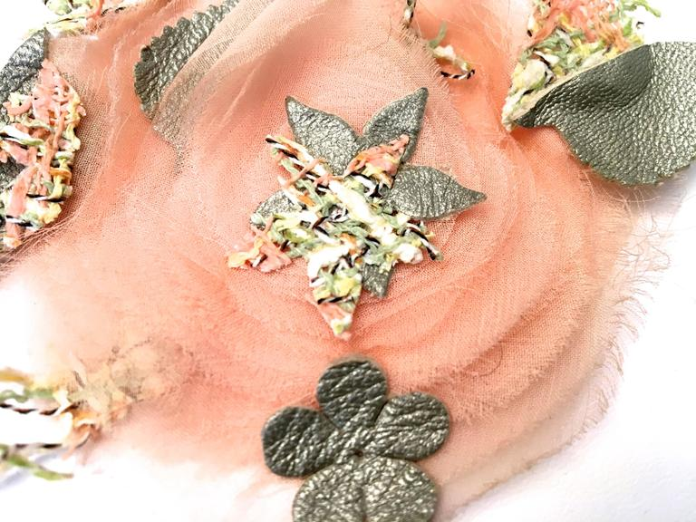 2 Matching Chanel Camellia Pins - Pink, Gray, Green For Sale 3
