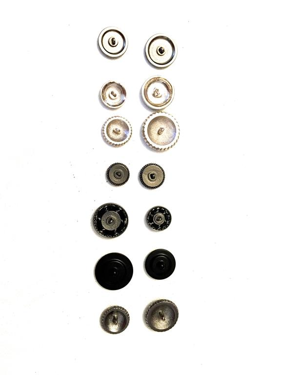 Chanel Buttons - Assorted Lot of 14 - Silver Tone / Black  3