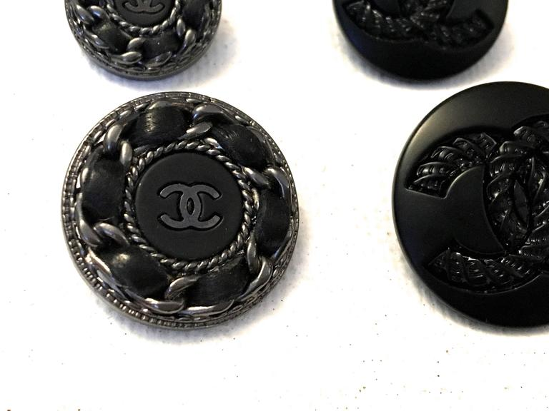 Chanel Buttons - Assorted Lot of 14 - Silver Tone / Black  4