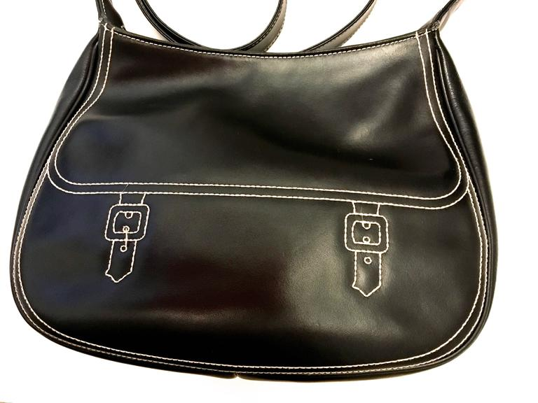 Roberta di Camerino Black Stitched Bag - 1970's  For Sale 4