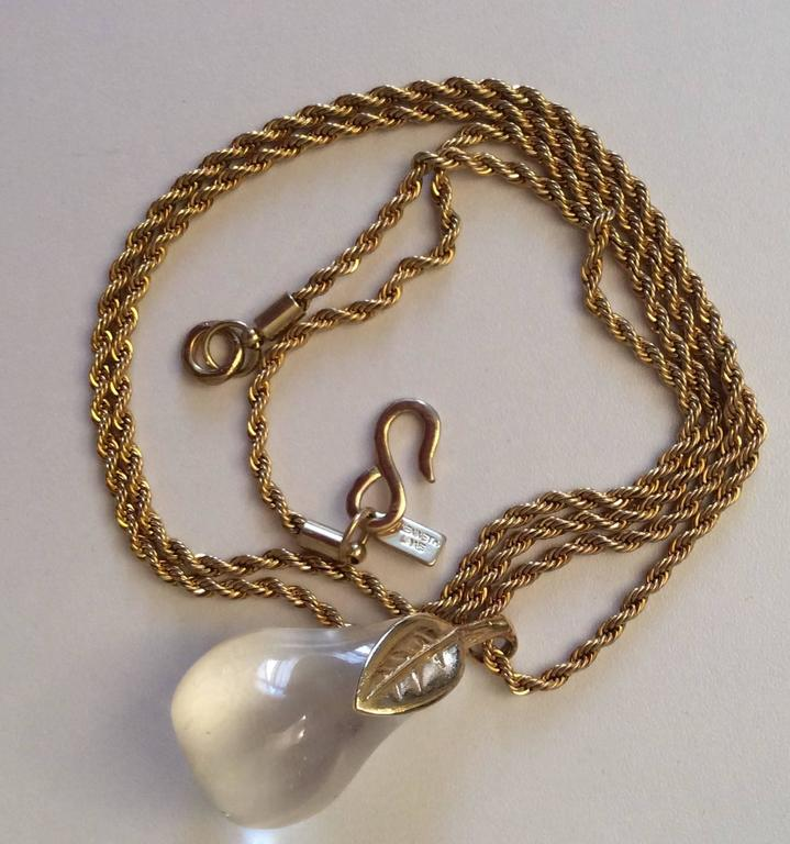 KJL Kenneth J. Lane Necklace - Lucite Pear In Excellent Condition For Sale In Boca Raton, FL