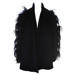 Ted Lapidus Haute Couture Lamb's Wool Ostrich Feather Coat