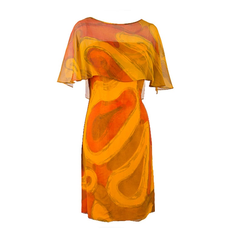 Molly Parnis Boutique Gold and Orange Dress Size 11 1