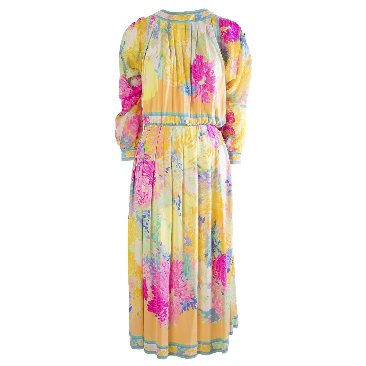 Leonard Vintage Silk Print Dress 1